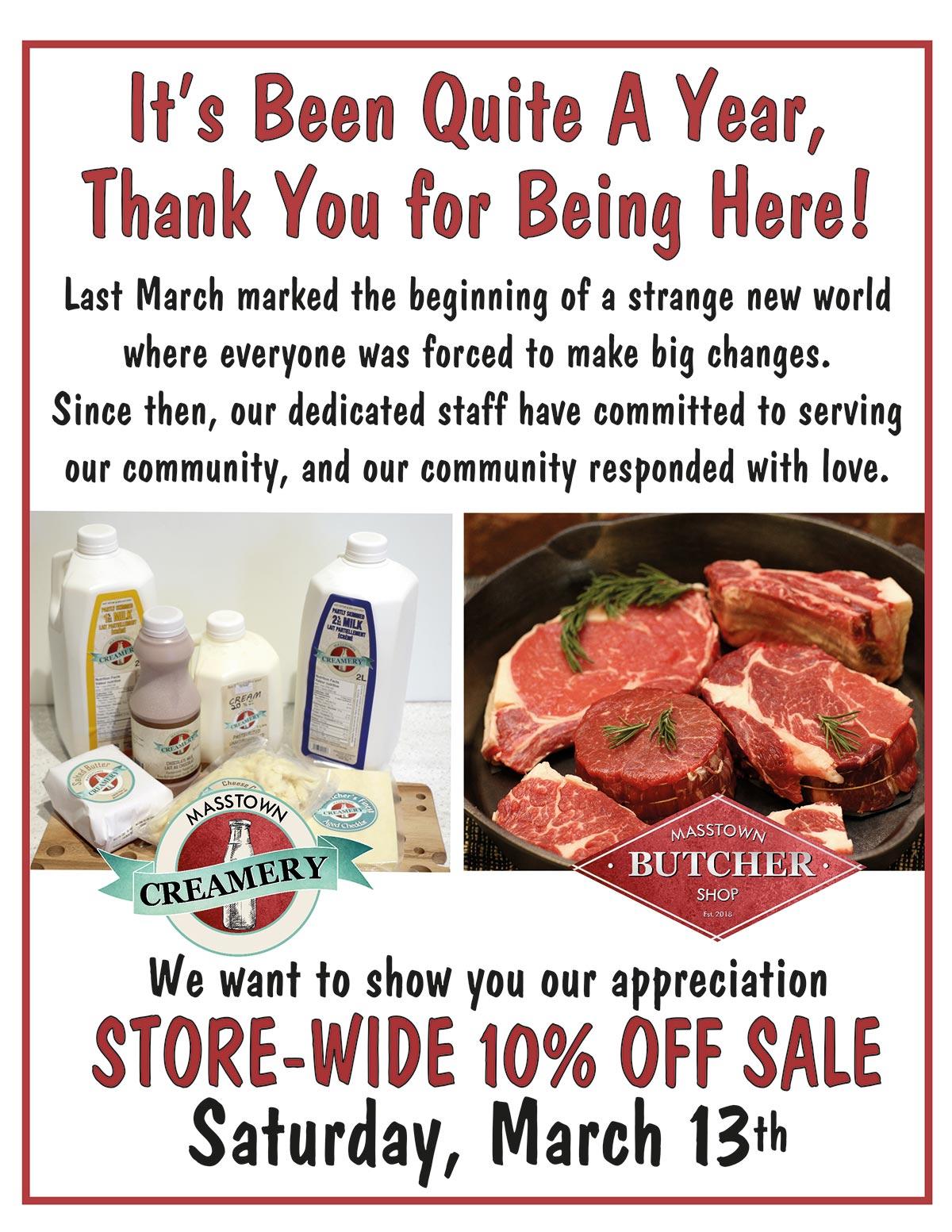 butcher & creamery appreciation sale