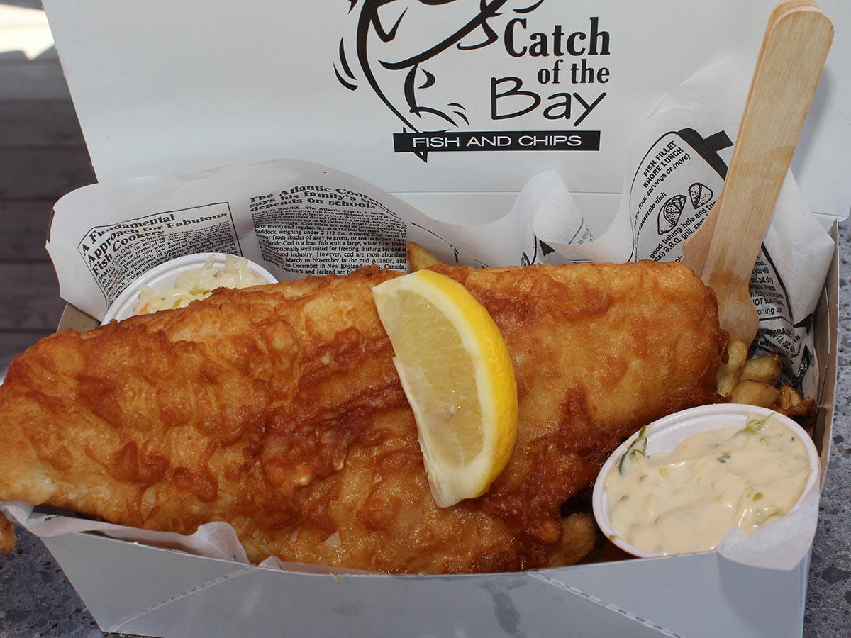 Basket of Fish and Chips from Catch of the Bay Fish Boat