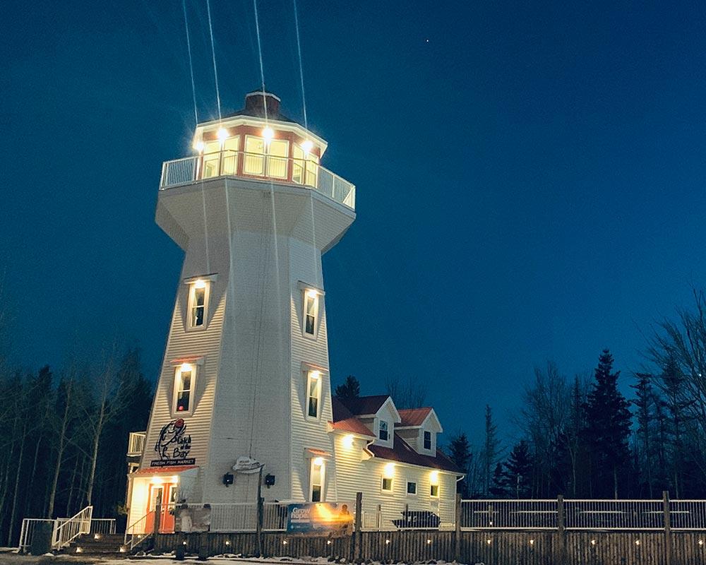 Masstown Market Lighthouse at Night